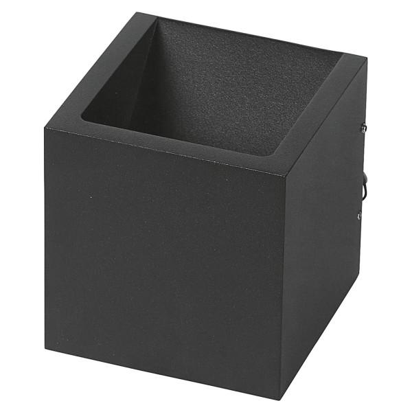 schwarze quadratische dimmbare LED Innen Außen Wandleuchte 10 cm