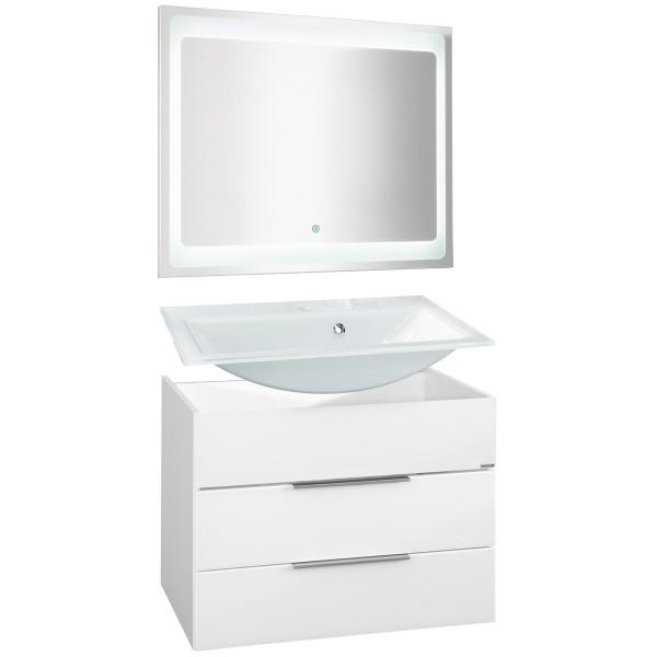 Fackelmann Badmöbel Set Kara 3-tlg. 80 cm weiß inkl. LED Spiegelelement