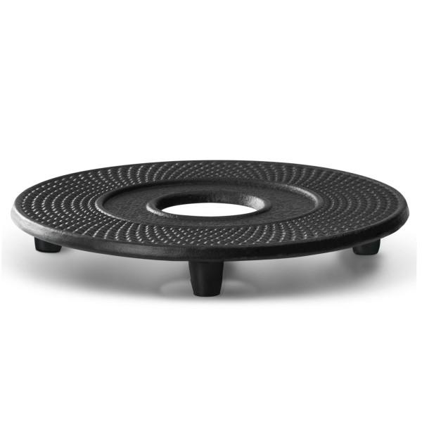 runder schwarzer gusseiserner Untersetzer Jang Ø ca. 13 cm
