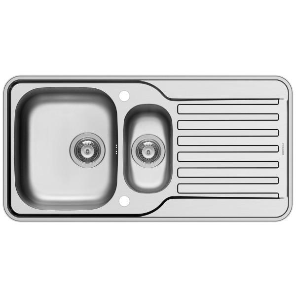Pyramis Küchenspüle Space Mini 96 cm 1 1/2 Becken 1D (Einbau)