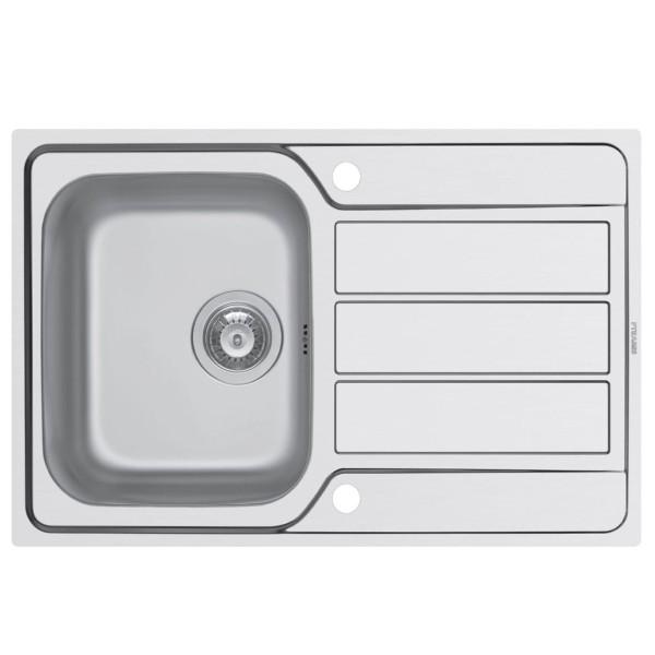 flächenbündige Edelstahl Küchenspüle 79 cm 1 Becken