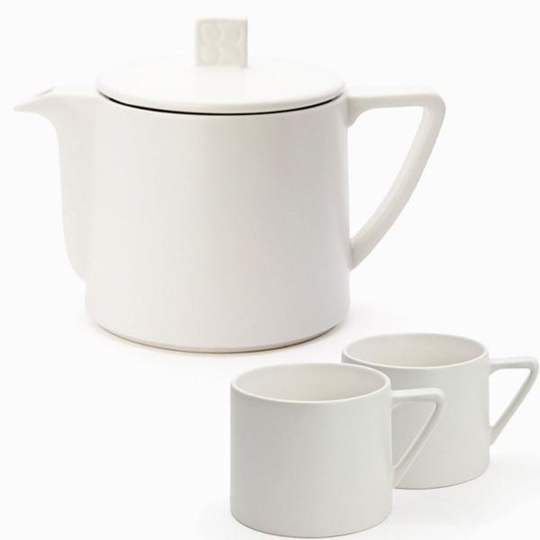 Teekanne Keramik 0,5 L & Teebecher (2 Stück) weiß / Bredemeijer Lund