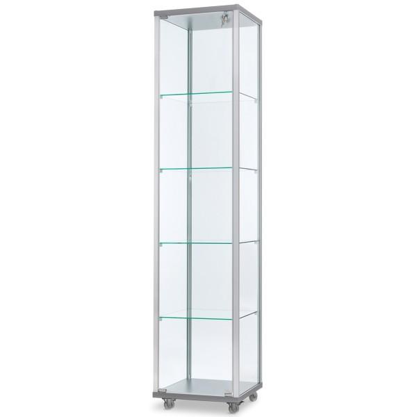 schmale verschließbare unbeleuchtete Glasvitrine 40 x 40 cm - Art.-Nr. IV4242-ob-r-gr