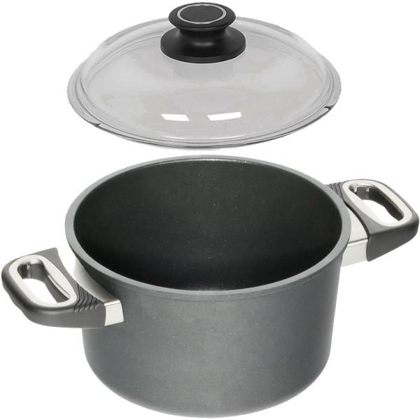AMT Kochtopf aus Aluguss 20 cm antihaftbeschichtet und Sicherheitsglasdeckel