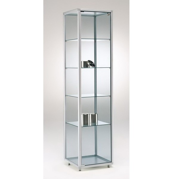 Standvitrine Alu aus Glas mit Schloss und LED-Beleuchtung ohne Spiegelrückwand / auf Rollen