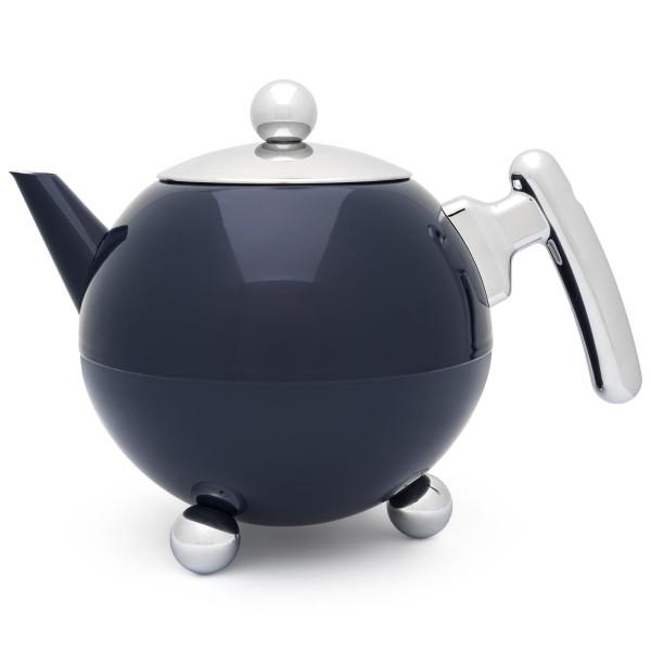 große blaue bauchige doppelwandige Edelstahl Teekanne 1.2 Liter
