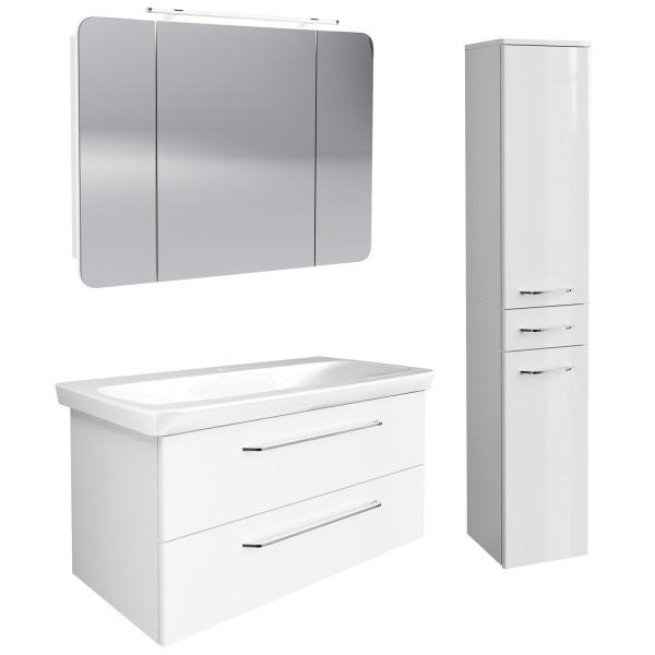 Fackelmann hängendes weißes Bad Möbel Set 100 cm 4 teilig LED
