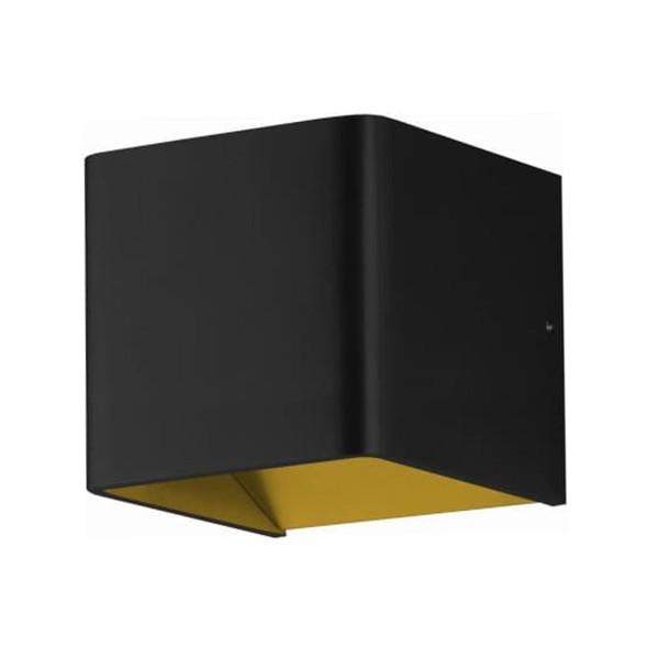 quadratische schwarz-goldene dimmbare LED Innen Wandleuchte 10 cm