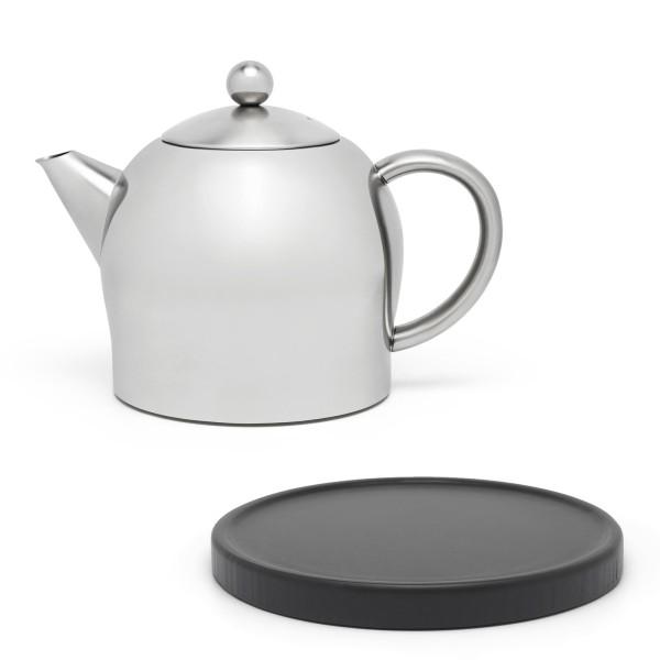 kleine matte doppelwandige Edelstahl Teekanne 0.5 Liter & schwarzer Untersetzer aus Holz