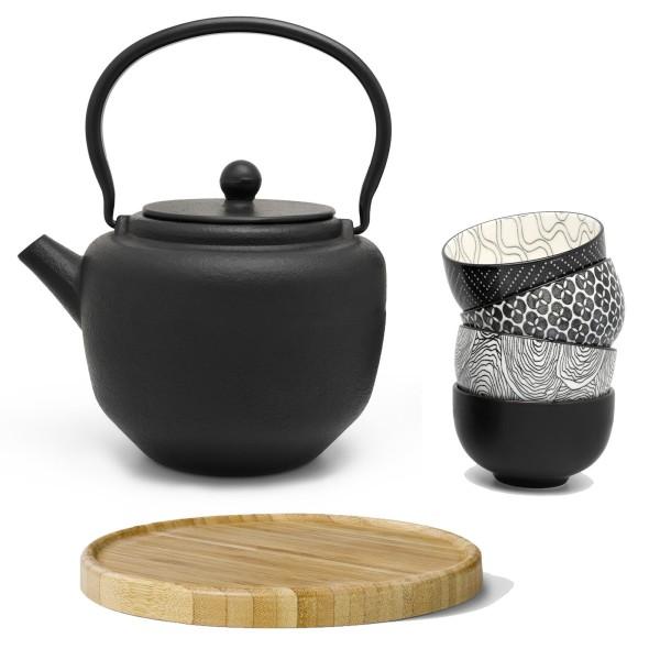 schwarzes asiatisches Guss Teekannen Set 1.3 L mit 4 Porzellan-Teebecher & braunem Holzuntersetzer