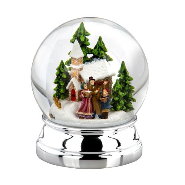 große versilberte Glas Schneekugel Ø 10 cm Weihnachtssänger - Art.-Nr. 5330ver