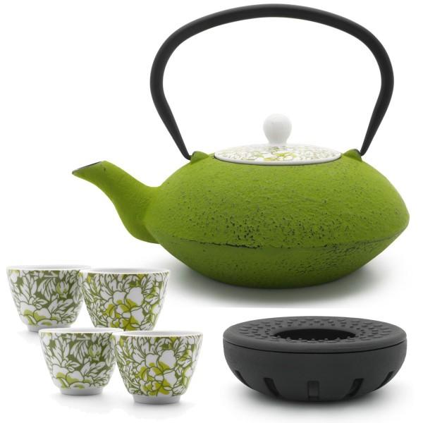 gusseiserne Teekanne 1,2 Liter asiatisch & Teewärmer & 4 Porzellan-Teebecher grün