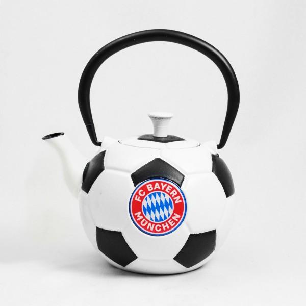 schwarz weisse gusseiserne FC Bayern Teekanne Fussball 0.6 Liter - Art.-Nr. ZQ0.6l-9000