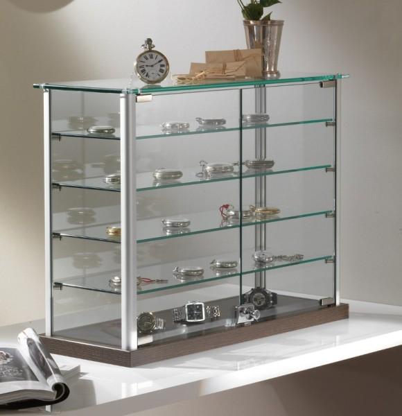 kleine breite Aufsatzvitrine Glas 65 cm Tischvitrine Alu abschließbar braun - Art.-Nr. ADT65-25-ob-wenige