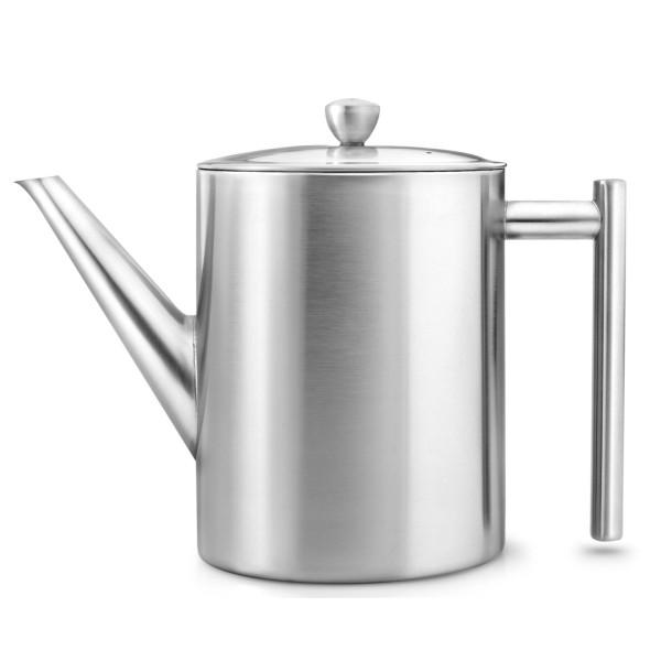hohe doppelwandige Edelstahl Teekanne 1.2 Liter mit Teefilter