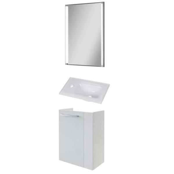 Fackelmann weiße Gäste WC Badezimmer Möbel hängend 45 cm LED