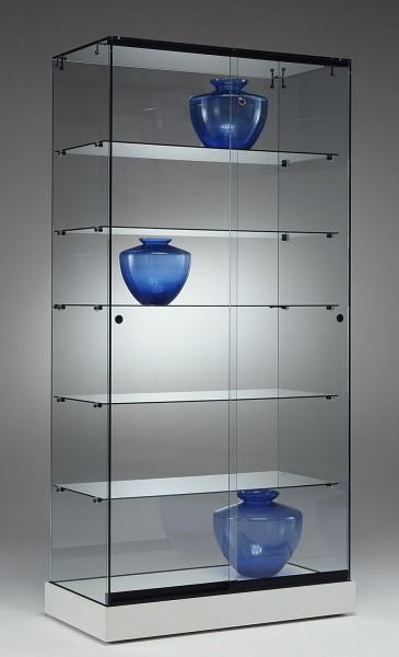 breite Messevitrine abschließbar Messebau rollbar 90 cm weiß - Art.-Nr. PL90-46-ob-weiß