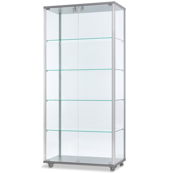 breite verschließbare Glasvitrine mit LED-Beleuchtung 80 x 40 cm - Art.-Nr. IV7842-mb-r-gr