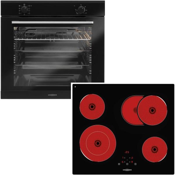 Oranier schwarzes Einbauherd Set & 60 cm breites Glaskeramikkochfeld KFTC 9965 TC