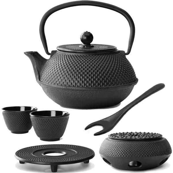 asiatisches gusseisernes Teekannen Set Jang mit Stövchen Untersetzer & Deckelheber 0,8 Liter / 2 Stück