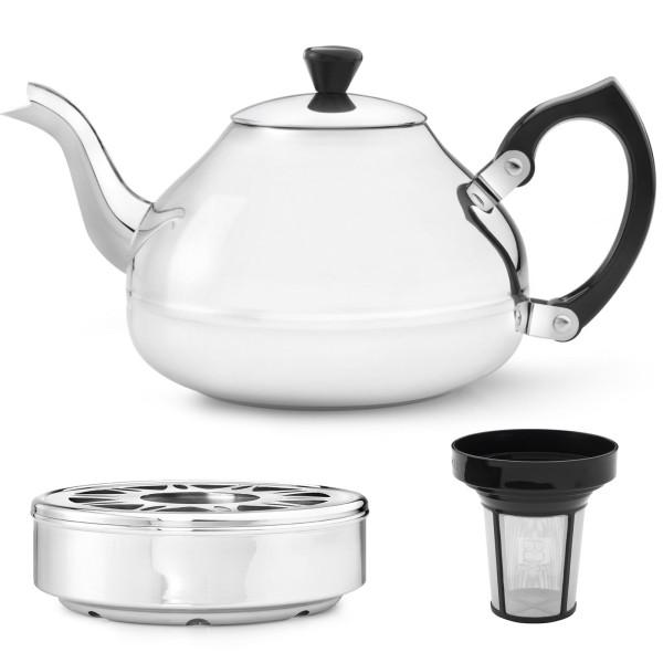 große silberne einwandige Edelstahl Teekanne 1.25 L & Teewärmer & Filter