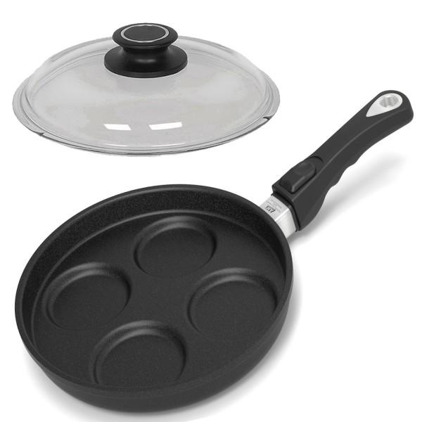AMT Spiegeleipfanne 26 cm Pancake Griff abnehmbar Aluguss antihaft & Glasdeckel