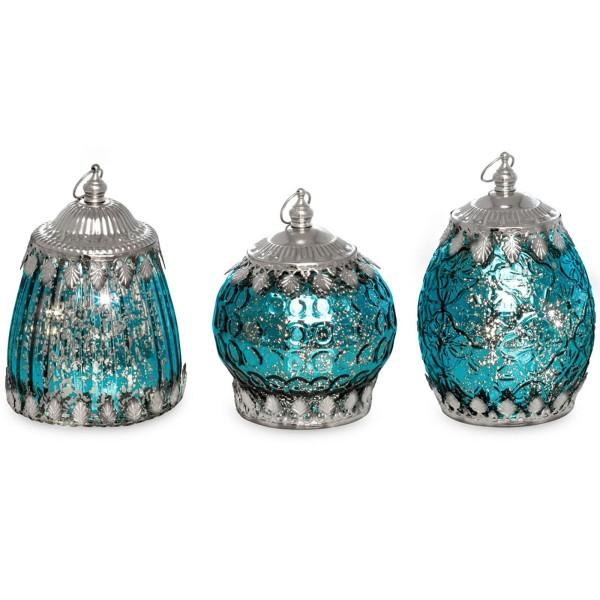 antikes LED Glas Laternen Set blau 3 teilig mit je 5er Lichterkette - Art.-Nr. 5324-3ver