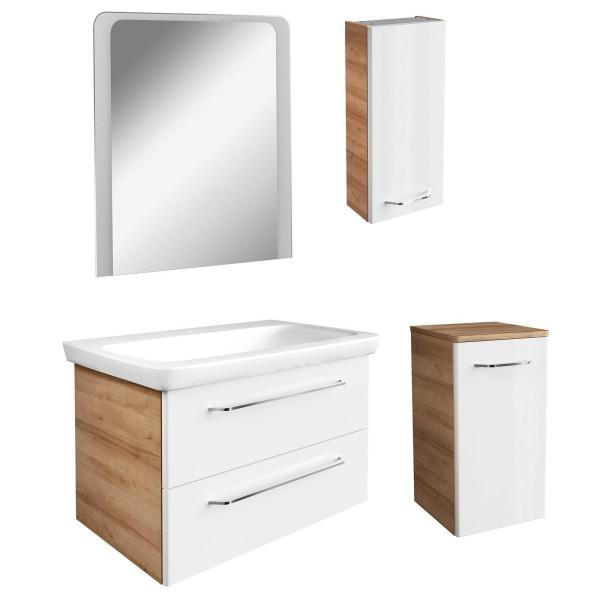 Fackelmann braun weißes Badmöbel Set hängend 5 tlg 100 cm LED