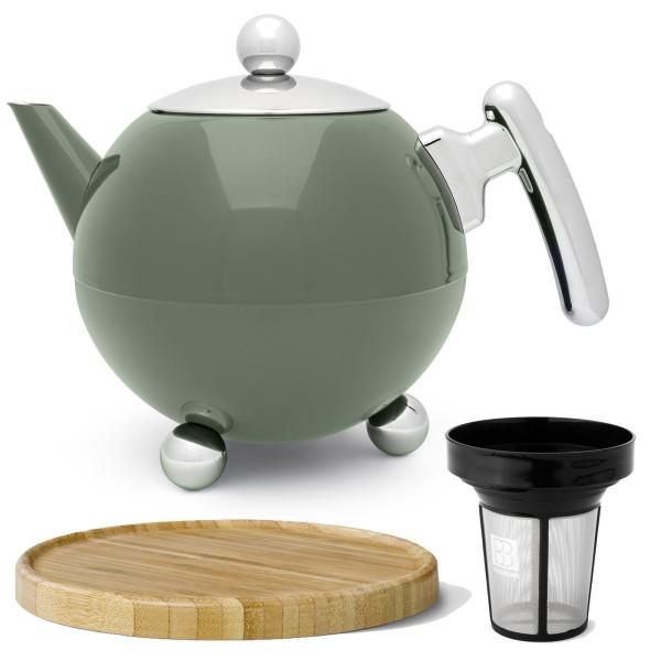 große grüne bauchige doppelwandige Edelstahl Teekanne 1.2 Liter & Filter & brauner Holzuntersetzer