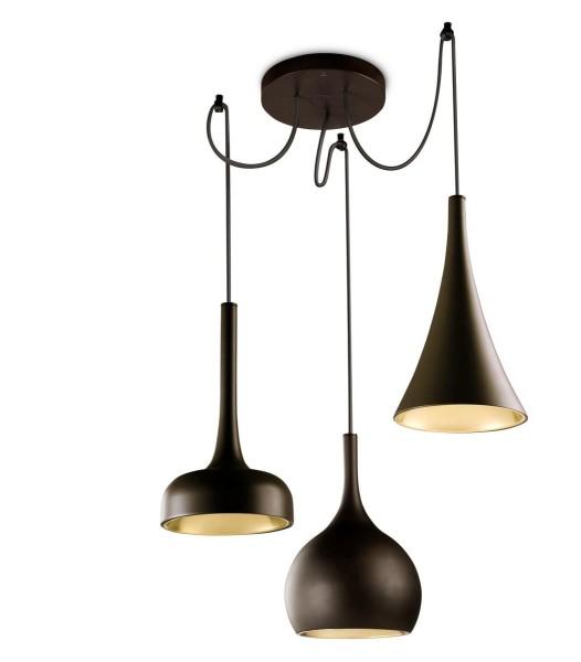 LED Pendelleuchte Sixties Ø 640 mm dunkelbraun, kupfer glänzend