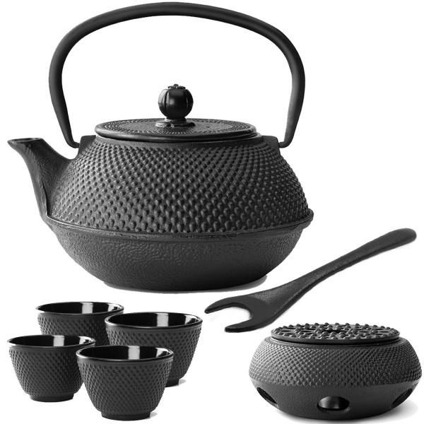 asiatisches Teekannen Set Gusseisen schwarz Jang mit Teewärmer & Deckelheber 0,8 Liter / 4 Stück