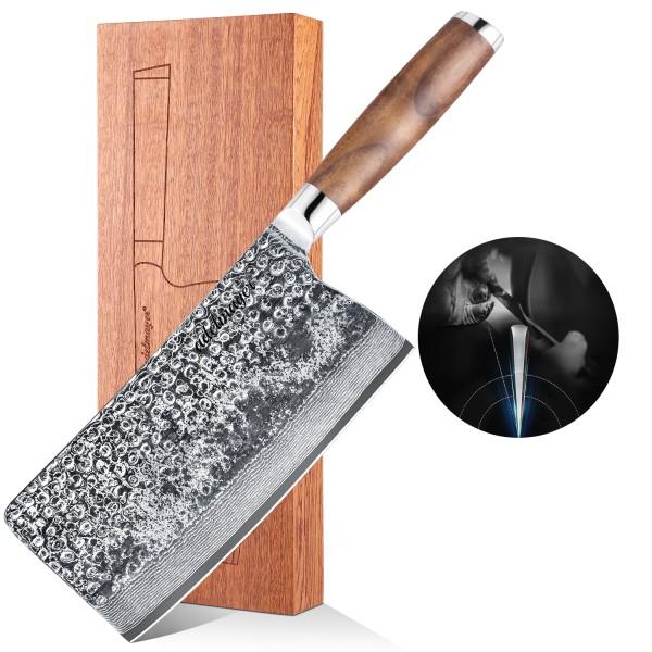 Adelmayer® edles Damast Hackmesser 18.3 cm mit braunem Walnußholzgriff