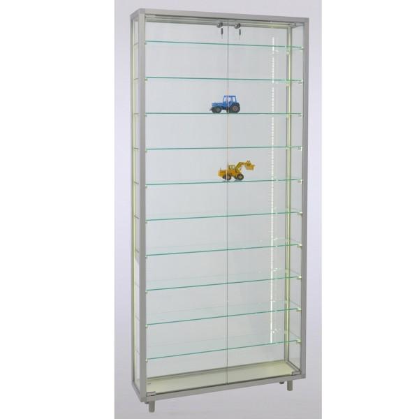 hohe Stand-Wandvitrine aus Glas für Modelle abschließbar mit LED-Beleuchtung mit Holzrückwand