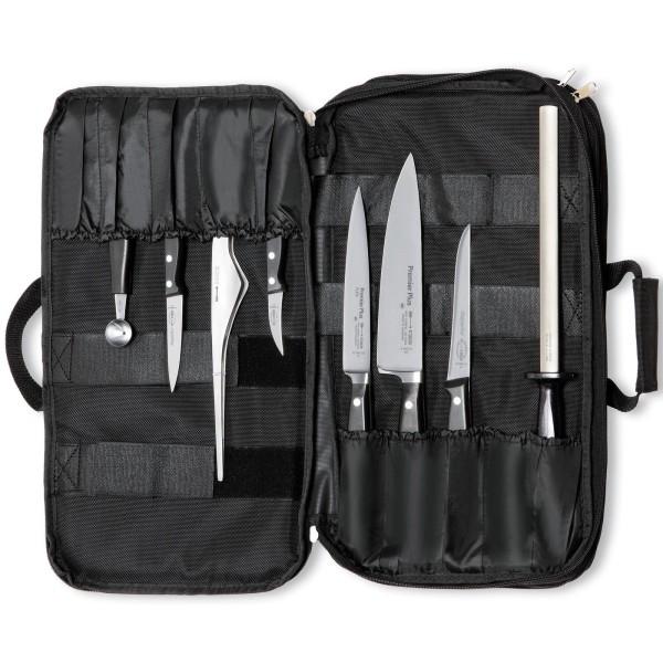 Dick große bestückte Textil Messertasche inkl. Wetzstahl 8 teilig
