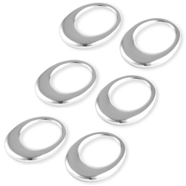 versilberte glänzende ovale 6-teilige Stoffserviettenringe im Set 7 cm