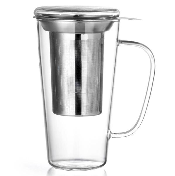 Bredemeijer Teeglas mit Deckel 500 ml Solo Rimini Borosilikatglas einwandig - Art.-Nr. 1503