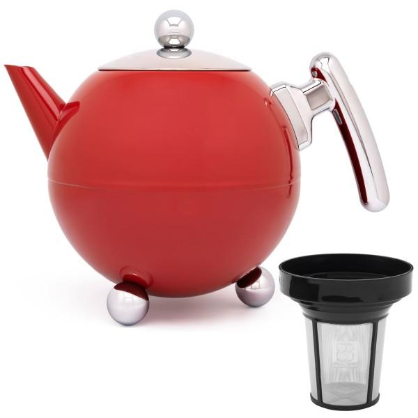 rote bauchige doppelwandige Edelstahl Teekanne 1.2 Liter mit Teefilter-Sieb
