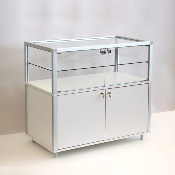 hochwertige Thekenvitrine Glas mit Unterschrank mit LED-Beleuchtung ohne Spiegelrückwand / auf Rollen