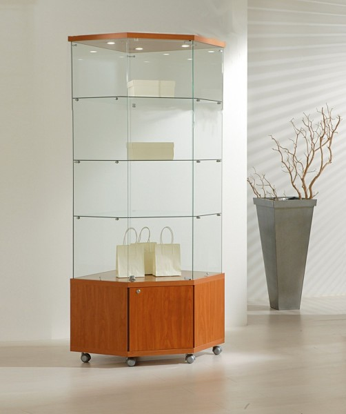 Eckvitrine Glas abschließbar Vitrine beleuchtet mit Unterschrank rollbar kirschbaum 68 cm - Art.-Nr. SV6868M-mb-r-kirsche
