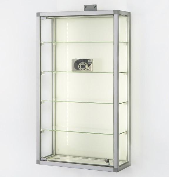 kleine Glas-Hängevitrine Alu beleuchtet & Schloß ca. 50 cm  mit Glasrückwand / mit quadratischen Profilen