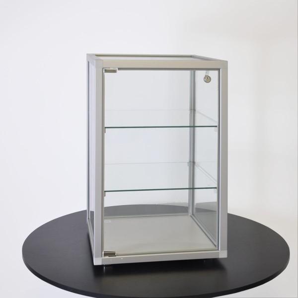 kleine abschließbare Tisch Schmuckvitrine aus Glas  mit quadratischen Profilen