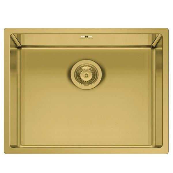 eckige flächenbündige Edeslstahl Küchenspüle 50 cm gold