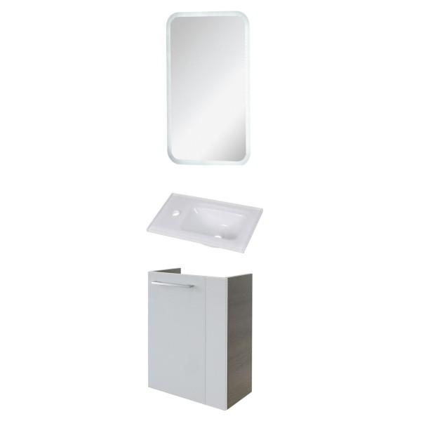 Fackelmann weißes Gäste WC Badmöbel Set LED hängend 45 cm Glasbecken