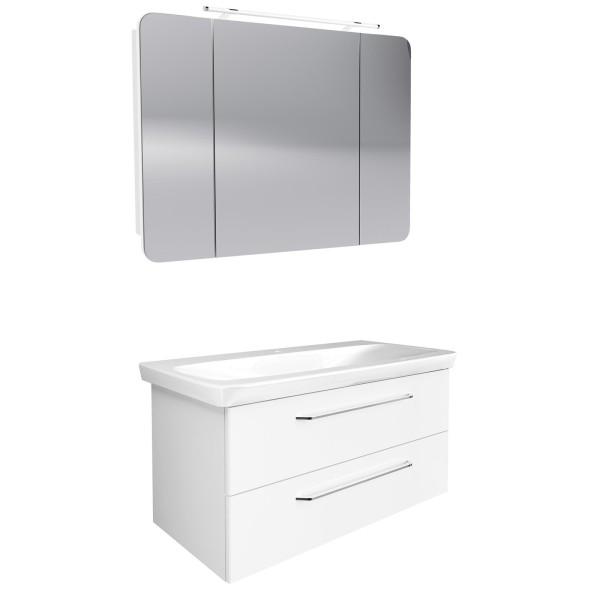 Fackelmann hängendes weißes Bad Möbel Set 100 cm 3 teilig LED