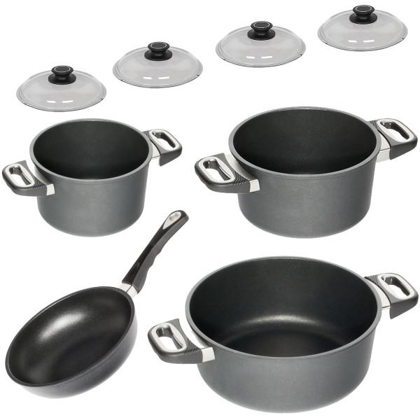 AMT Topfset 4 teilig antihaftbeschichtet Aluguss PFOA frei 1 Bratentopf 2 Kochtöpfe 1 Sauteuse nicht induktionsfähig inklusive 4 Glasdeckel