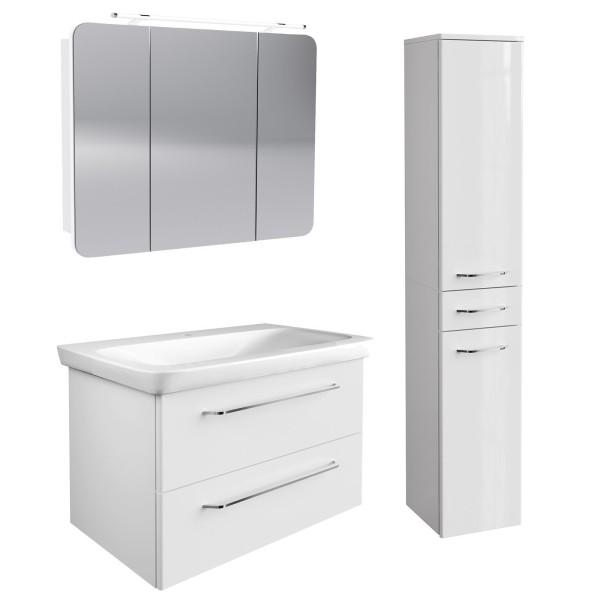 Fackelmann weißes hängendes Bad Möbel Set 100 cm 4 teilig LED
