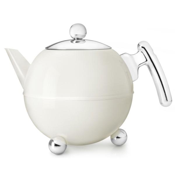 weisse bauchige doppelwandig isolierte Edelstahl Teekanne 1.2 Liter