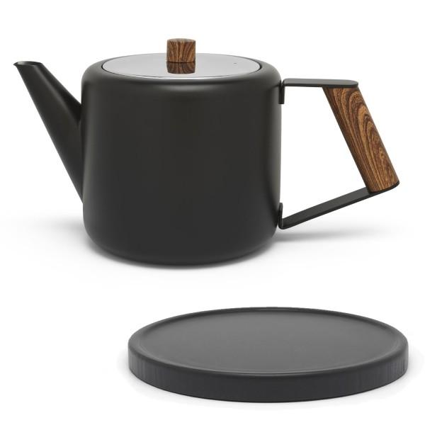 kleine schwarze doppelwandige Edelstahl Teekanne 1.1 L brauner Griff & schwarzer Holzuntersetzer