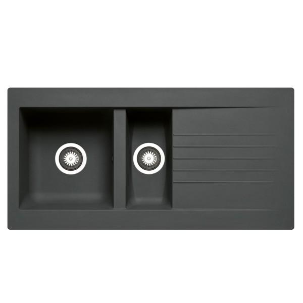 schwarze XL Einbauspüle 100 cm Fibertek 1 Becken & Restebecken