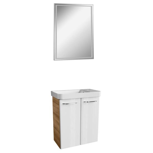 Fackelmann Gäste WC Badmöbel hängend braun weiß 3 teilig 55 cm